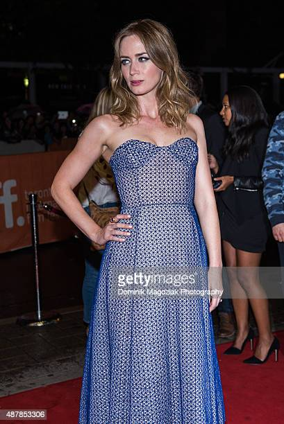 Actress Emily Blunt attends the 'Sicario' premiere during the Toronto International Film Festival at the Princess of Wales Theatre on September 11...