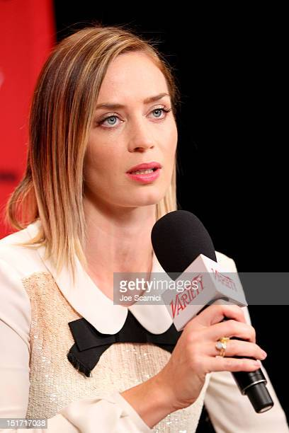 Actress Emily Blunt attends the Variety Studio presented by Moroccanoil at Holt Renfrew during the 2012 Toronto International Film Festival on...