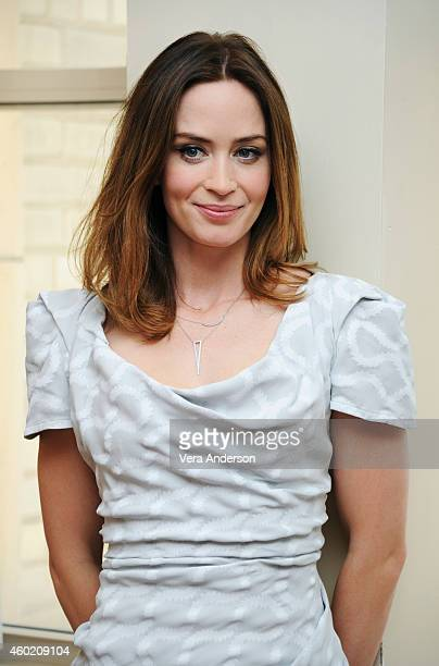 Actress Emily Blunt is photographed at the 'Into The Woods' Press Conference at the Four Seasons hotel on November 23 2014 in Beverly Hills California