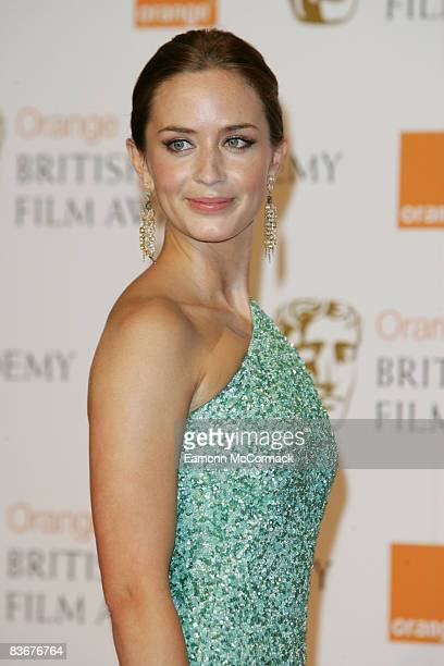 Actress Emily Blunt poses in the Press Room during The Orange British Academy Film Awards 2008 at The Royal Opera House, Covent Garden on February...