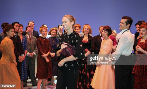 Actress Emily Blunt poses with cast members of the West End production of An American In Paris at The Dominion Theatre on May 31 2017 in London...