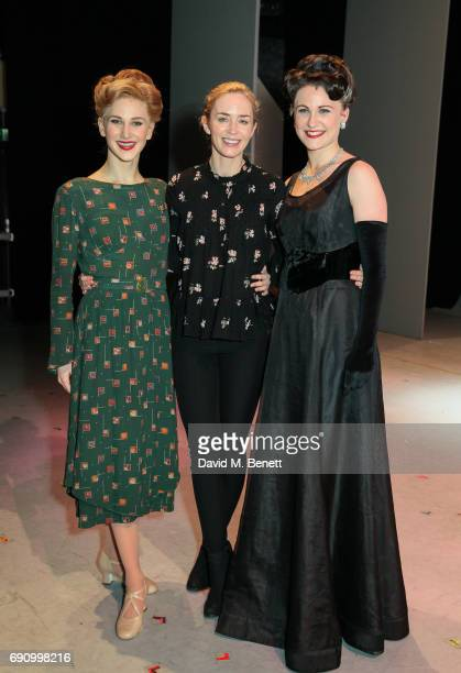 Actress Emily Blunt poses with cast members Sarah Bakker and Jennifer Davison of the West End production of 'An American In Paris' at The Dominion...