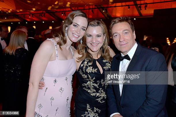 Actress Emily Blunt West Coast Editor for Vanity Fair Krista Smith and talent agent and Mananging Partner of CAA Kevin Huvane attend the 2016 Vanity...