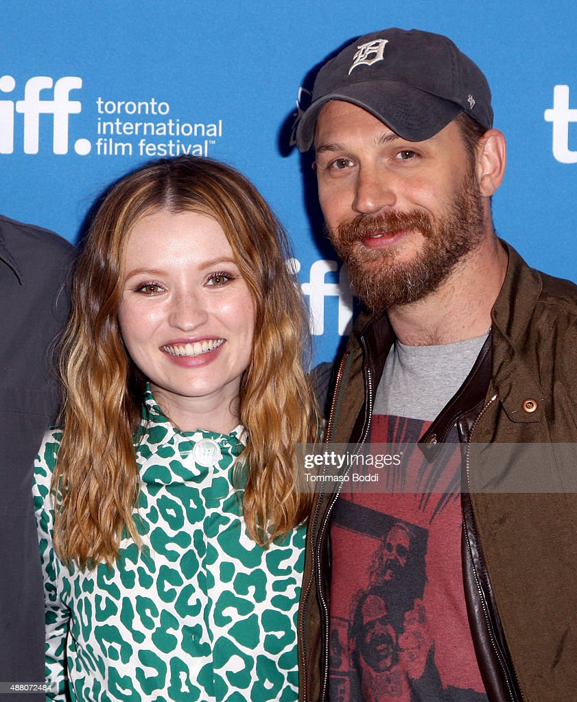 Actress Emily Browning and actor Tom Hardy pose during the 'Legend' press conference at the 2015 Toronto International Film Festival at TIFF Bell Lightbox on September 13, 2015 in Toronto, Canada.