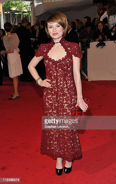 Actress Emily Browning attends the Alexander McQueen Savage Beauty Costume Institute Gala at The Metropolitan Museum of Art on May 2 2011 in New York...
