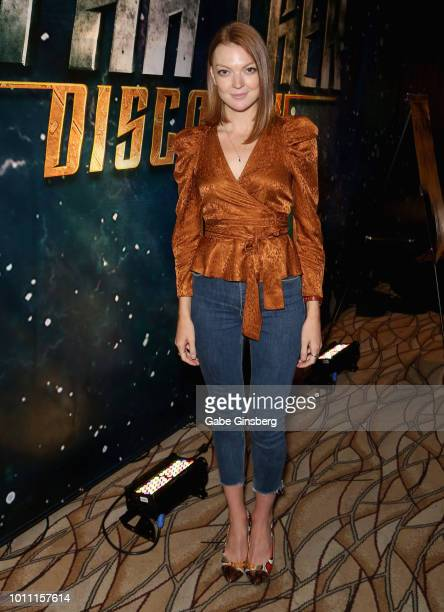 Actress Emily Coutts attends the 17th annual official Star Trek convention at the Rio Hotel Casino on August 4 2018 in Las Vegas Nevada