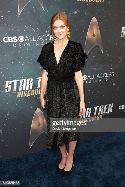 Actress Emily Coutts attends the premiere of CBS's 'Star Trek Discovery' at The Cinerama Dome on September 19 2017 in Los Angeles California
