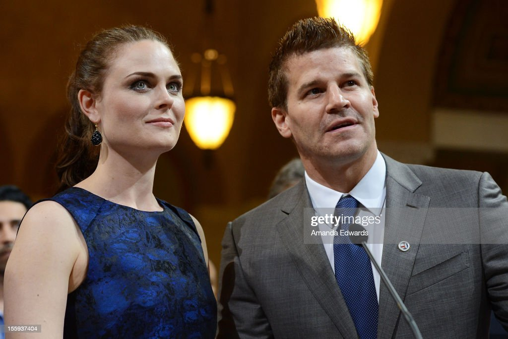 Actress Emily Deschanel (L) and actor David Boreanaz attend FOX's 'Bones' City of Los Angeles City Council Presentation at Los Angeles City Hall on November 9, 2012 in Los Angeles, California.