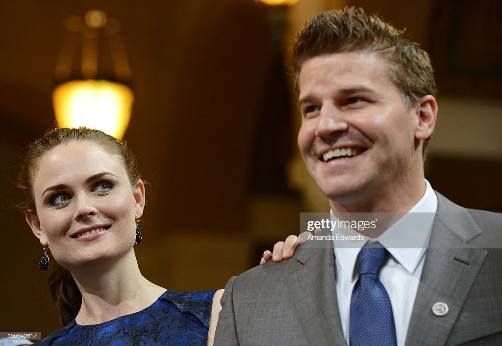 Actress Emily Deschanel (L) and actor David Boreanaz attend FOX's 'Bones' City of Los Angeles City Hall Presentation at Los Angeles City Hall on November 9, 2012 in Los Angeles, California.