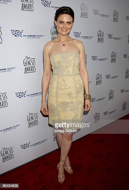 Actress Emily Deschanel arrives at The 22nd Genesis Awards on March 29 2008 at the International Ballroom of The Beverly Hilton Hotel in Beverly...