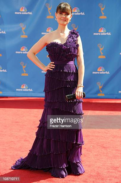 Actress Emily Deschanel arrives at the 62nd Annual Primetime Emmy Awards held at the Nokia Theatre LA Live on August 29 2010 in Los Angeles California