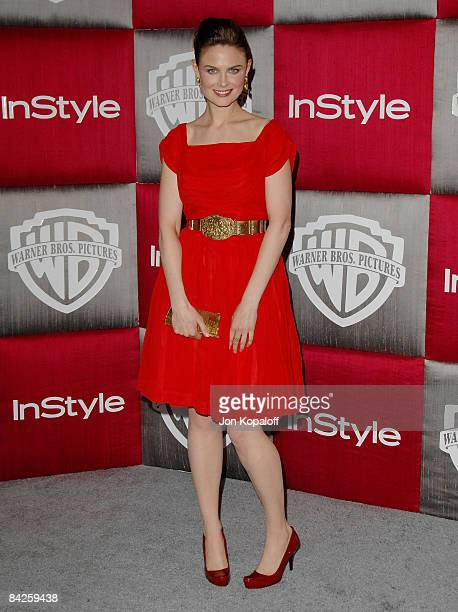 Actress Emily Deschanel arrives at the 66th Annual Golden Globe Awards InStyle Warner Bros Official After Party at the Oasis Court at The Beverly...