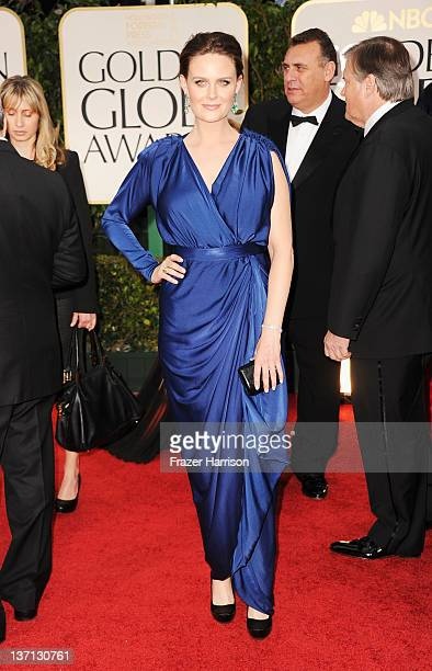 Actress Emily Deschanel arrives at the 69th Annual Golden Globe Awards held at the Beverly Hilton Hotel on January 15 2012 in Beverly Hills California