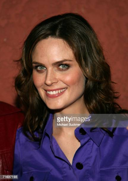Actress Emily Deschanel arrives at the AIDS Healthcare Foundation Hot In Hollywood Party at the Henry Fonda Theatre on August 12 2006 in Los Angeles...