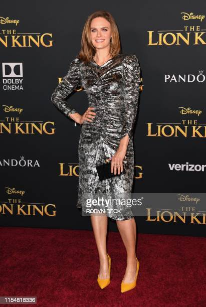 US actress Emily Deschanel arrives for the world premiere of Disney's The Lion King at the Dolby theatre on July 9 2019 in Hollywood