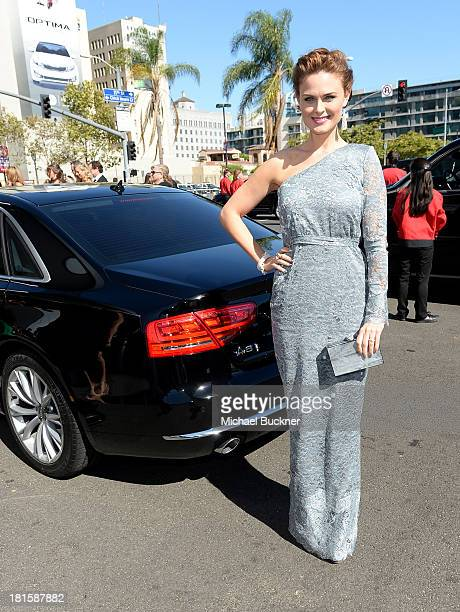 Actress Emily Deschanel arrives with Audi at the 65th Annual Primetime Emmy Awards held at Nokia Theatre LA Live on September 22 2013 in Los Angeles...