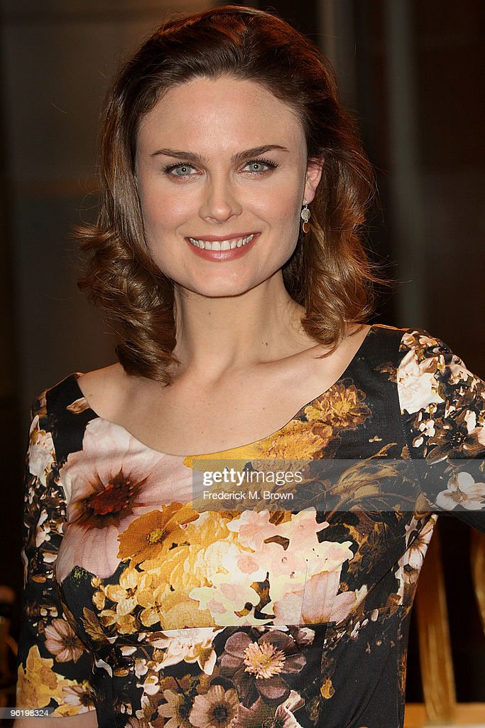 Actress Emily Deschanel attends the 100th Episode celebration of the television show 'Bones' at Fox Studios on January 26, 2010 in Los Angeles, California.