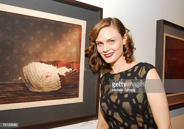 Actress Emily Deschanel attends the opening of the Chris Anthony art show Victims Avengers held at the Corey Helford Gallery on January 27 2007 in...