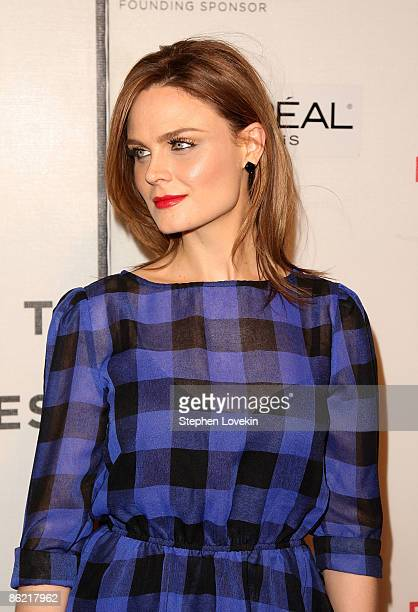 Actress Emily Deschanel attends the premiere for Serious Moonlight during the 2009 Tribeca Film Festival at BMCC Tribeca PAC on April 25 2009 in New...