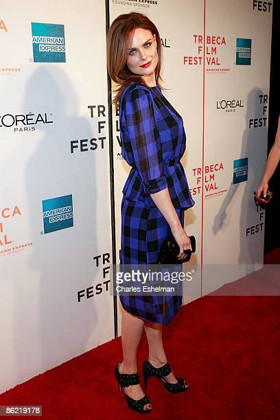 Actress Emily Deschanel attends the premiere of 'Serious Moonlight' during the 8th Annual Tribeca Film Festival at BMCC Tribeca Performing Arts...