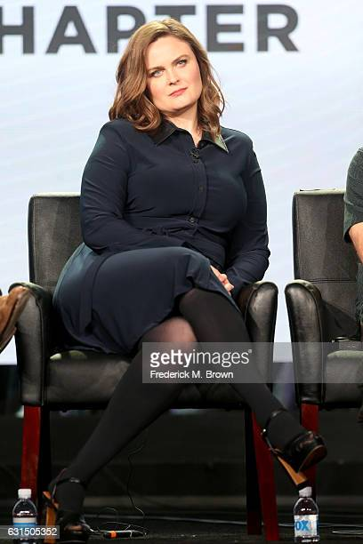 Actress Emily Deschanel of the television show 'Bones' speaks onstage during the FOX portion of the 2017 Winter Television Critics Association Press...