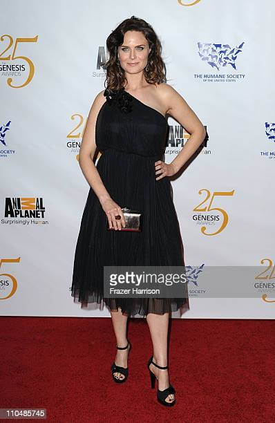 Actress Emily Deschanel poses in the press room at the 25th Anniversary Genesis Awards held at the Hyatt Regency Century Plaza Hotel on March 19 2011...