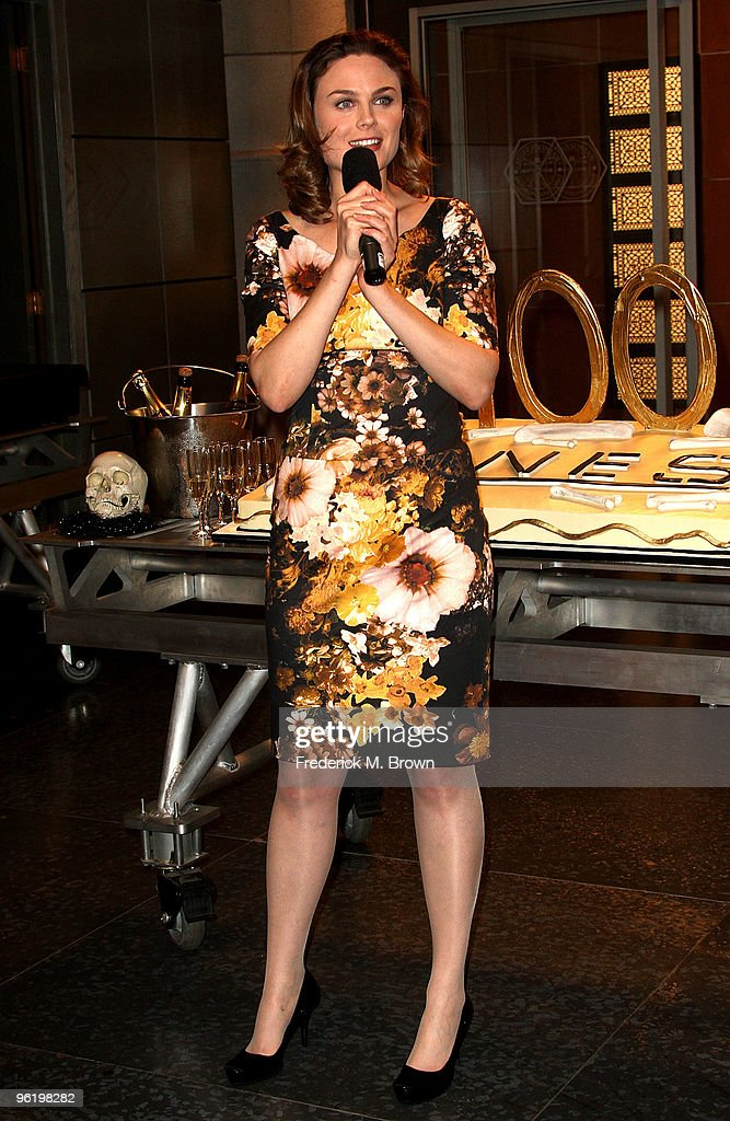 Actress Emily Deschanel speaks during the 100th Episode celebration of the television show 'Bones' at Fox Studios on January 26, 2010 in Los Angeles, California.