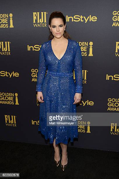 Actress Emily Hampshire arrives at the Hollywood Foreign Press Association and InStyle celebrate the 2017 Golden Globe Award Season at Catch LA on...