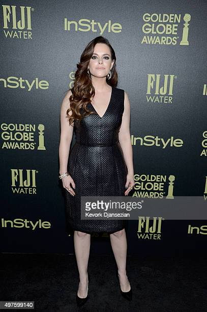 Actress Emily Hampshire attends Hollywood Foreign Press Association and InStyle Celebration of The 2016 Golden Globe Award Season at Ysabel on...