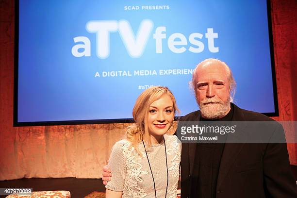 Actress Emily Kinney and actor Scott Wilson pose following a panel discussion during aTVfest on February 8 2014 in Atlanta Georgia