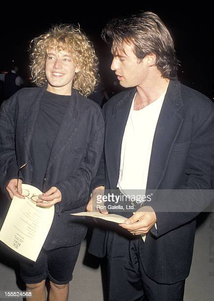 Actress Emily Lloyd and actor James Wilder attend the Total Recall Premiere Party on May 31 1990 at Griffth Park Observatory in Los Angeles California