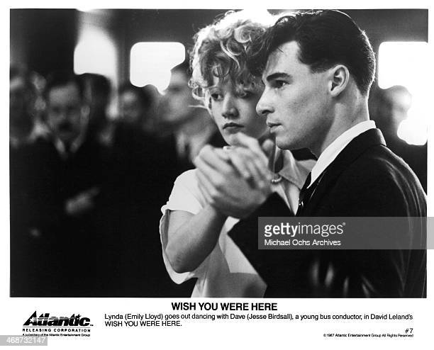 Actress Emily Lloyd and Jesse Birdsall on set of the movie Wish You Were Here circa 1987