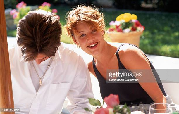 Actress Emily Lloyd laughs at lunch wirth a man in1992 in Los Angeles California