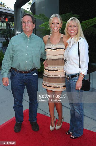 "Actress Emily Montague and parents arrive to a screening of Dreamworks Pictures' ""Fright Night"" on August 17, 2011 in Hollywood, California."