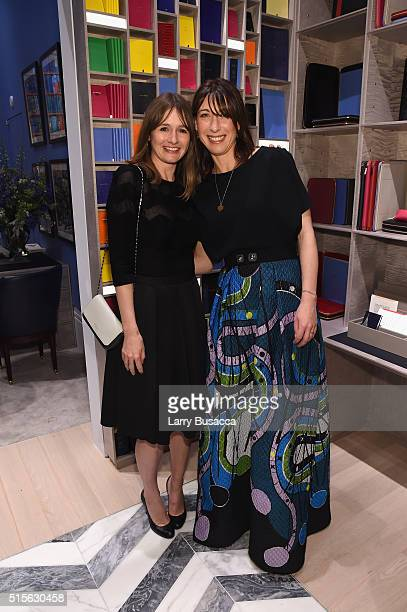 Actress Emily Mortimer and Smythson Creative Consultant Samantha Cameron attends Smythson's Madison Avenue Grand Opening Event on March 14 2016 in...