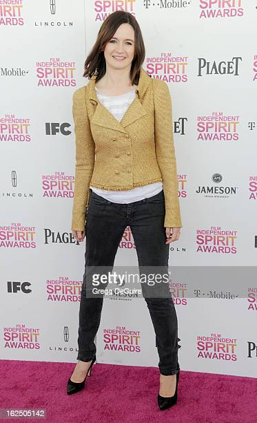 Actress Emily Mortimer arrives at the 2013 Film Independent Spirit Awards at Santa Monica Beach on February 23 2013 in Santa Monica California