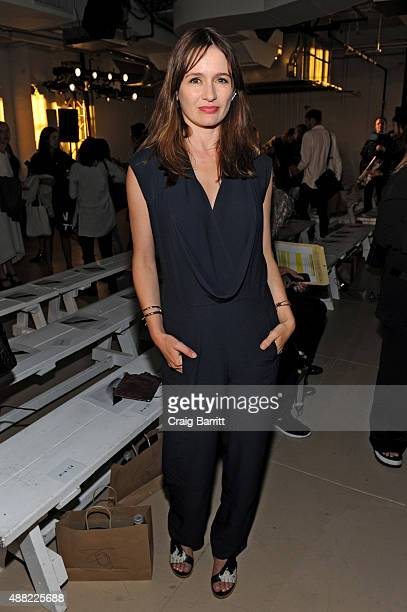 Actress Emily Mortimer attends the Zero Maria Cornejo Spring 2016 fashion show during New York Fashion Week at Shop Studios on September 14 2015 in...