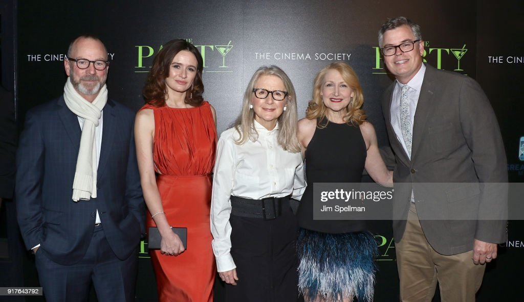 Actress Emily Mortimer (2nd from left), director Sally Potter, actress Patricia Clarkson and Eric d'Arbeloff attend the screening of 'The Party' hosted by Roadside Attractions and Great Point Media with The Cinema Society at Metrograph on February 12, 2018 in New York City.