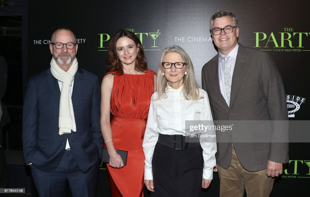 Actress Emily Mortimer (2nd from left), director Sally Potter and Eric d'Arbeloff attend the screening of 'The Party' hosted by Roadside Attractions and Great Point Media with The Cinema Society at Metrograph on February 12, 2018 in New York City.