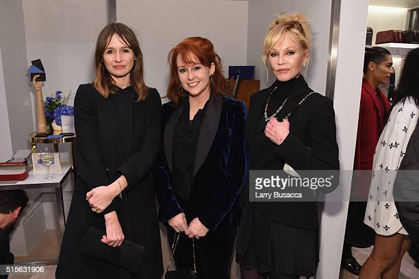 Actress Emily Mortimer Tracy Griffith and actress Melanie Griffith attend Smythson's Madison Avenue Grand Opening Event on March 14 2016 in New York...