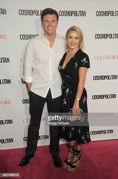 Actress Emily Osment and Blake Cooper Griffin arrive at Cosmopolitan Magazine's 50th Birthday Celebration at Ysabel on October 12 2015 in West...