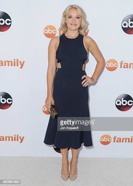 Actress Emily Osment arrives at Disney ABC Television Group's 2015 TCA Summer Press Tour at the Beverly Hilton Hotel on August 4 2015 in Beverly...