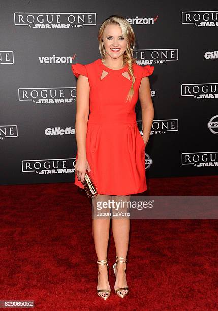 Actress Emily Osment attends the premiere of Rogue One A Star Wars Story at the Pantages Theatre on December 10 2016 in Hollywood California