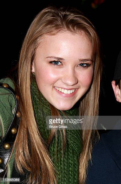 Actress Emily Osment poses as she visit backstage at Disney's The Little Mermaid on Broadway at The Lunt Fontanne Theater on December 18 2007 in New...