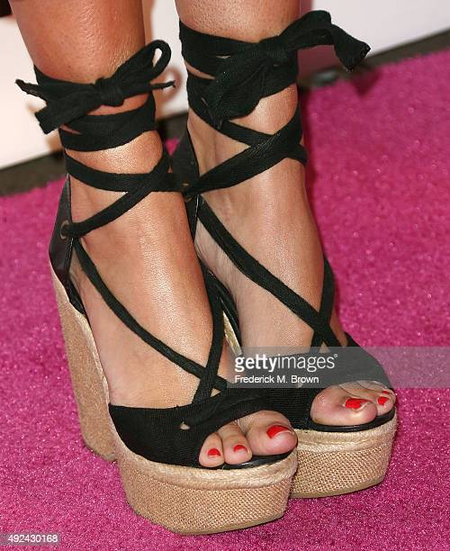 Actress Emily Osment shoe details attends Cosmopolitan's 50th Birthday Celebration at Ysabel on October 12 2015 in West Hollywood California