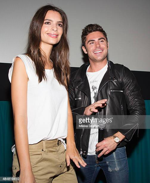 Actress Emily Ratajkowski and actor Zac Efron introduce We Are Your Friends for the audience on August 21 2015 in San Francisco California