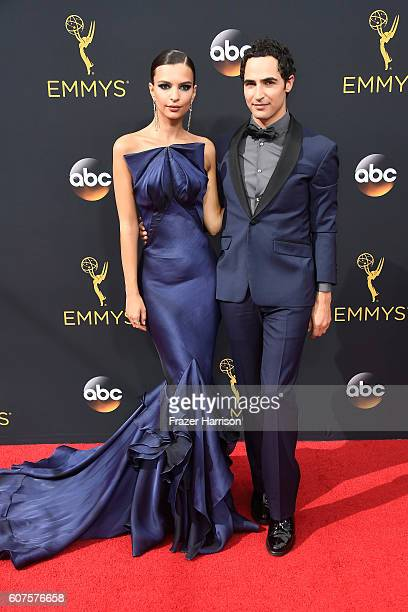 Actress Emily Ratajkowski and designer Zac Posen attend the 68th Annual Primetime Emmy Awards at Microsoft Theater on September 18 2016 in Los...