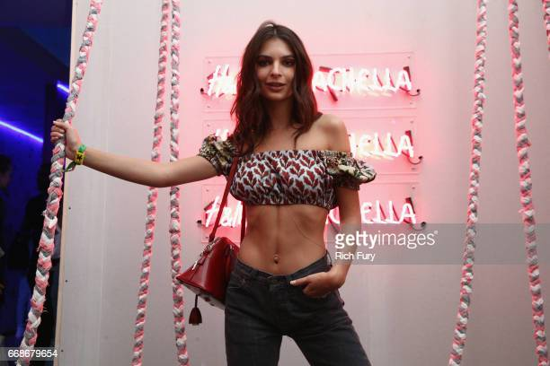 Actress Emily Ratajkowski attends HM Loves Coachella Tent during day 1 of the Coachella Valley Music Arts Festival at the Empire Polo Club on April...
