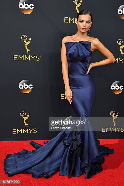 Actress Emily Ratajkowski attends the 68th Annual Primetime Emmy Awards at Microsoft Theater on September 18 2016 in Los Angeles California
