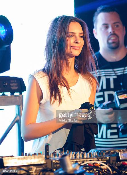 Actress Emily Ratajkowski gets on stage at We Are Your Friends tour afterparty on August 21 2015 in San Francisco California